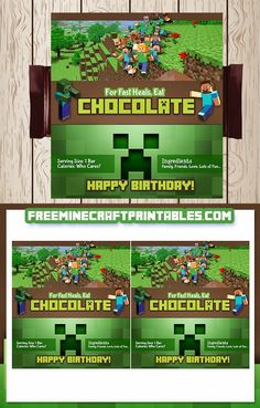 Free Minecraft Printables: Free Printable Minecraft Candy Wrapper