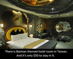 World's Craziest Batman Room is in an Hourly Rate Erotic Motel - Curbed Geeks, Themed Hotel Rooms, Batman Room, Balcony Table And Chairs, High Chairs, Bar Chairs, Brown Leather Recliner Chair, Creative Home, Farmhouse Table