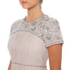 Last One* Vintage 1950's Style Taupe Grey Embellished Dress UK14 Jenny Packham