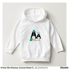 Pretty like Mommy. Funny Penguins Mom & Daughter design Christmas Gift T-Shirts and Sweatshirts for baby girls with personalized baby's name and text. Matching cards with different family members, postage stamps and other products available in the Christmas & New Year Category of the Mairin Studio store at zazzle.com