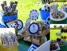 Soccer Party Theme. blue-black-white. MKR Creations