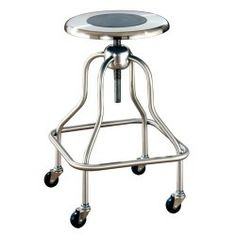 UMF Medical's SS6704 Stainless Steel Adjustable Lab Stool features a threaded spin-lift-style stem for easy height adjustments. The Laboratory Stools include recessed non-slip material in the seats and non-slip crutch tips on the stool bottom for added safety.