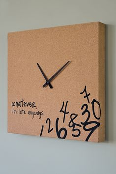 Made this for my cousin. I covered canvas with a vinyl material. Then cut the numbers and words out with my cricut and vinyl. I bought a clock from Target and took the motor out and attached it to the inside of the canvas.