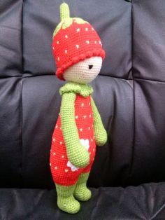 Eperke - horgolt amigurumi, Játék, Báb, Baba játék, Játékfigura, Színes, vidám epernek beöltözött kislány. Mérete: 38-40 cm. Színei: világos zöld, piros, c..., Meska