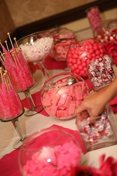 candy buffet with pink wafers and pretzels dipped in pink chocolate