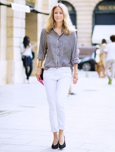 9 Outfits That Prove Preppy Doesn't Have To Mean Boring via @WhoWhatWear---Oversized Button-down + White Cropped Jeans + Black Pumps: