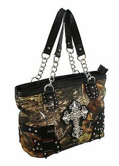 Mossy Oak Black Camo Rhinestone Cross Purse Western Camouflage Bling Bag | eBay $37.99 Unique Purses, Cute Purses, Cute Handbags, Purses And Handbags, Cross Purses, Camo Purse, Western Purses, Camo Outfits, Camo Baby Stuff