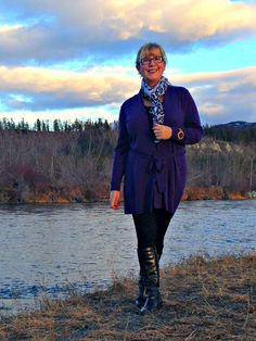 Woolover Cardigan and leggings as I walk the waterfront in Whitehorse  Boots by Bass and Scarf by Yosa