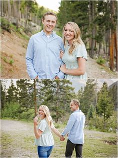 Summer Engagement Session - Red Lodge - Mountains - Trees - Sunset - Fiance - Engaged Couple - Gray Pants - Blue Shirt - Green Shirt - Jeans - Holding Hands - Showing Ring - Hugging Arm - Montana Wedding Photographer - Sara Nagel Photography Engagement Couple, Engagement Session, Engagement Photos, Red Lodge Mountain, Montana Wedding, How To Pose, Gray Pants, Green Shirt, Engagement Photography