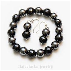 Black Agate Hematite Bracelet with Earrings by ZlatovlaskaJewelry