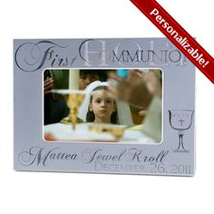 Elegant Personalized Silver First Communion Frame available in 4x6 or 8x10 #CatholicCompany
