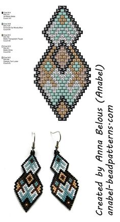 Схема серег из бисера - brick / peyote stitch earrings pattern