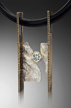 "Pendant | Barbara McLaughlin.  ""Between the sheets"".  Sterling silver, reticulated silver, 18k gold, white sapphire"
