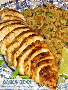 This island inspired Caribbean Chicken With A Spicy Honey Rum Glaze is a grilling favorite. Seasoned chicken breasts basted with a honey rum glaze are grilled until tender and charred. Rum Recipes, Jamaican Recipes, Grilling Recipes, Dinner Recipes, Cooking Recipes, Healthy Recipes, Dinner Ideas, Recipies, Bread Recipes