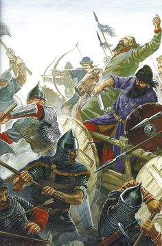 Byzantine Varangian guard vs Pecheneg in 1091 battle, The Empire won thanks to… Medieval World, Medieval Fantasy, Historical Art, Historical Pictures, Byzantine Army, Varangian Guard, High Middle Ages, Dark Ages, Roman Empire