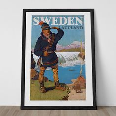 LAPPLAND SWEDEN TRAVEL Poster 1920's Wall Art Sweden Travel Art Frame-Ready Ikea Ribba Size Swedish Travel Poster