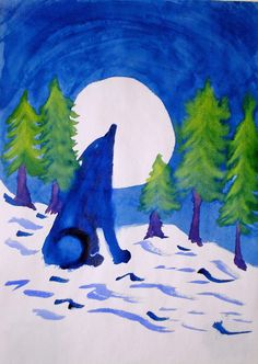 Waldorf ~ 4th grade ~ Human & Animal ~ Wolf ~ watercolor painting