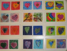 "4th grade pastel valentines.  Each student did two  3 x 3 "" squares that were glued onto a strip of white mat board"