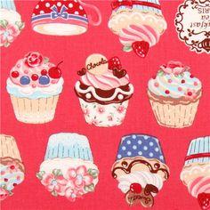 pink Cosmo cupcake tea fabric Japan