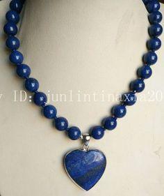 10Mm Natural Blue Lapis Lazuli Gemstone Heart-Shaped Pendant Necklace 18''