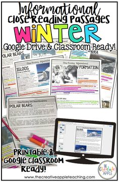 Winter Close Reading Passages with Google Classroom: This resource includes five winter passages. With each passage you get two differentiated passages, five constructed response questions, links to paired websites and videos, and a link for use in Google Drive or Google Classroom. If you have wanted to try paperless, now is the time!
