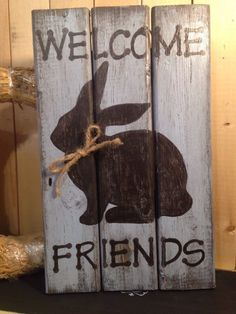 WELCOME •EASTER•Bunny•spring Primitive Rustic Pallet Country Handmade Sign | eBay