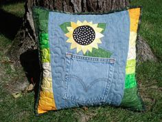 Hey, I found this really awesome Etsy listing at http://www.etsy.com/listing/161304404/sunflower-denim-pillow-made-with
