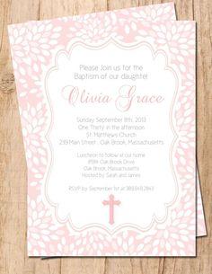 Modern Floral Digial Printable Baptism Invitation