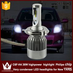 Night Lord 2pcs H4 LED Headlight C6F white 6000K High Beam and low beam dipped beam lamp for Yaris L 2014-2015 year only