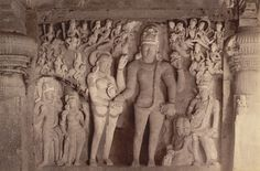 Wedding scene of [Shiva and Parvati] carved in Dhumar Lena Cave, Ellora