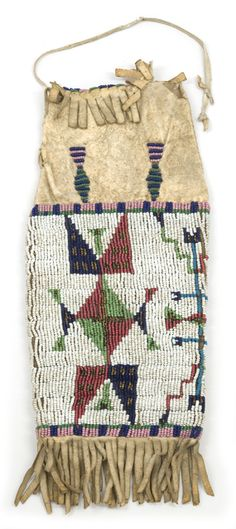 Dakota tobacco pouch or pipe bag. The majority of the surface of the pouch is covered in beadwork in shades of red, pink, green, blue and brown on a white bead background. The top and bottom of the bag are fringed.