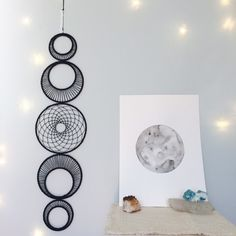 Large Moon Phase Wall Hanging, MoonPhase Wall Art, Moon Phase Dreamcatcher, Black Bohemian Dream Catcher, Modern Gypsy Decor, Boho Decor by MatriartBoutique on Etsy