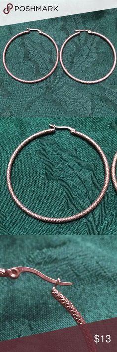 """Rose tone stainless steel 2"""" hoop earrings Rose tone 2"""" stainless steel hoop earrings. Diamond cut metal. Jewelry Earrings"""