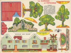 Garage And Grocery Store Vintage Paper Model - by Volumetrix via Agence Eureka Cardboard Box Houses, Cardboard Toys, Paper Houses, Free Paper Models, Paper Structure, House Template, Paper Furniture, Paper Towns, Glitter Houses