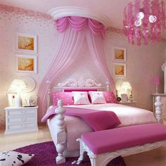 pink princess inspired bedroom