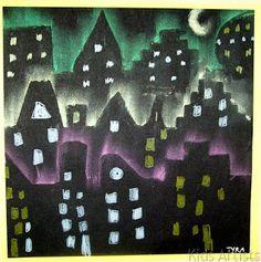 Night skyline- chalk pastel on black paper