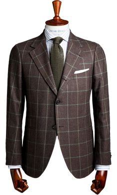 Brown and green windowpane check sports jacket
