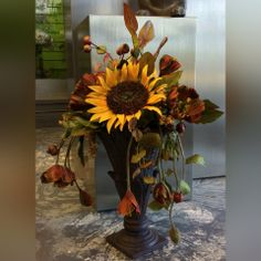 """Fall tones in a Permanent Botanical with Sunflowers, Anenome and more. A great way to accent your home or office seasonally year after year, today's """"Silk"""" florals are remarkably realistic."""