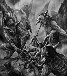 Dark Artwork, Dark Art Drawings, Weird Creatures, Fantasy Creatures, Satanic Art, Evil Art, Beautiful Dark Art, Horror Artwork, Kobold