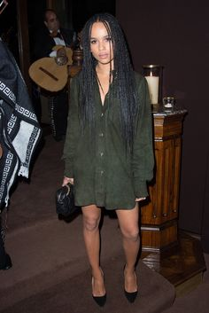 Zoe Kravitz in Chanel at Chanel and Charles Finch's annual Oscar dinner. [Photo by Tyler Boye]