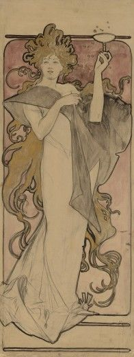 Posters & Affiches: Alfons MUCHA ~Ontwerp voor Champagne Ruinart (1896)~