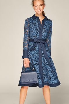 Blue Lace and denim shirt dress - Collection Carolina Herrera Dresses, Ch Carolina Herrera, New Dress, Lace Dress, Denim Shirt Dress, Going Out Outfits, African Print Fashion, Everyday Dresses, Blue Lace