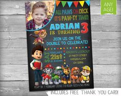 Paw Patrol Invite | Paw Patrol Invitation | Paw Patrol Party | Paw Patrol Chalkboard Invite - Personalized Printable Birthday Invitation | Chalkboard Invite | Paw Patrol Party | Paw Patrol Printables