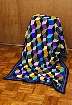 3d illusion afghan block pattern | Free Knitting Pattern 10266 The New Tumbling Blocks Knit Pattern ...