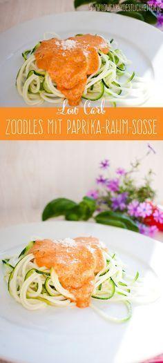 Nudelgenuss ohne Kohlenhydrate: Zoodles mit Paprika-Rahm-Soße #lowcarb #glutenfrei #zuckerfrei www.lowcarbkoestlichkeiten.de