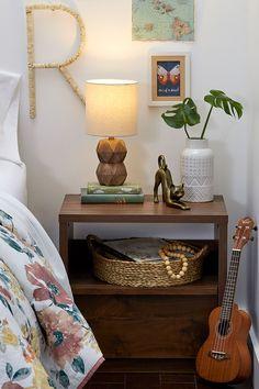Montclair Nightstand. #bedroom #furniture #vintage #walnutfinish #nightstand #bedsidetable #minimal #openshelf #drawer