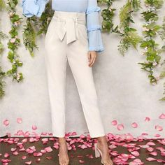 SHEIN Women White Elegant High Waist Self Belted Carrot Plain Pants 2019 Spring Office Lady Basic Workwear Women Trousers Trousers Women, Pants For Women, Clothes For Women, Fashion Pants, Boho Fashion, White Bow Tie, Type Of Pants, Office Ladies, Work Wear