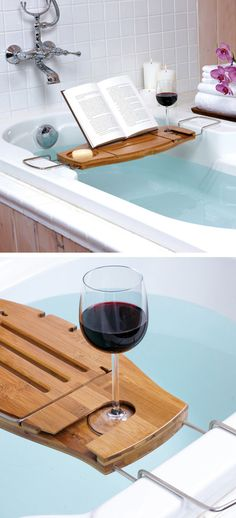 Bath Caddy with Wine Glass Holder // L.O.V.E.
