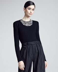 Beaded-Neck Sweater by Ralph Lauren Collection at Bergdorf Goodman.