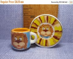 SALE Tiny LION Mug & Plate Platter China Dish Dishes Cup Baby
